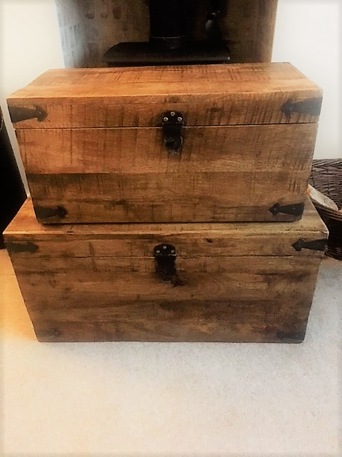 beautiful wooden chests to store my photos